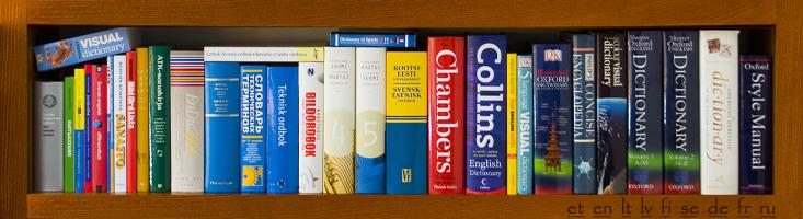 ordböcker och referensverk i vårt kontor